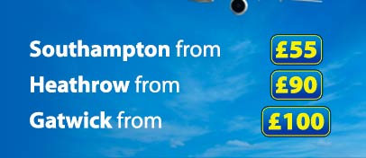 Travel to Southampton Airport from �40 or Heathrow Airport from �80 or Gatwick from �90